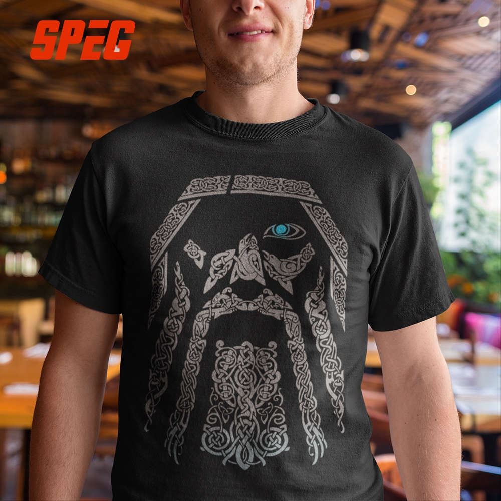 SPEG   T     Shirt   Vikings Odin Men 100% Cotton Tees Short Sleeve Tops Father Gift O Neck Retro Adult   T  -  Shirt   O Neck Plus Size 5XL 6XL