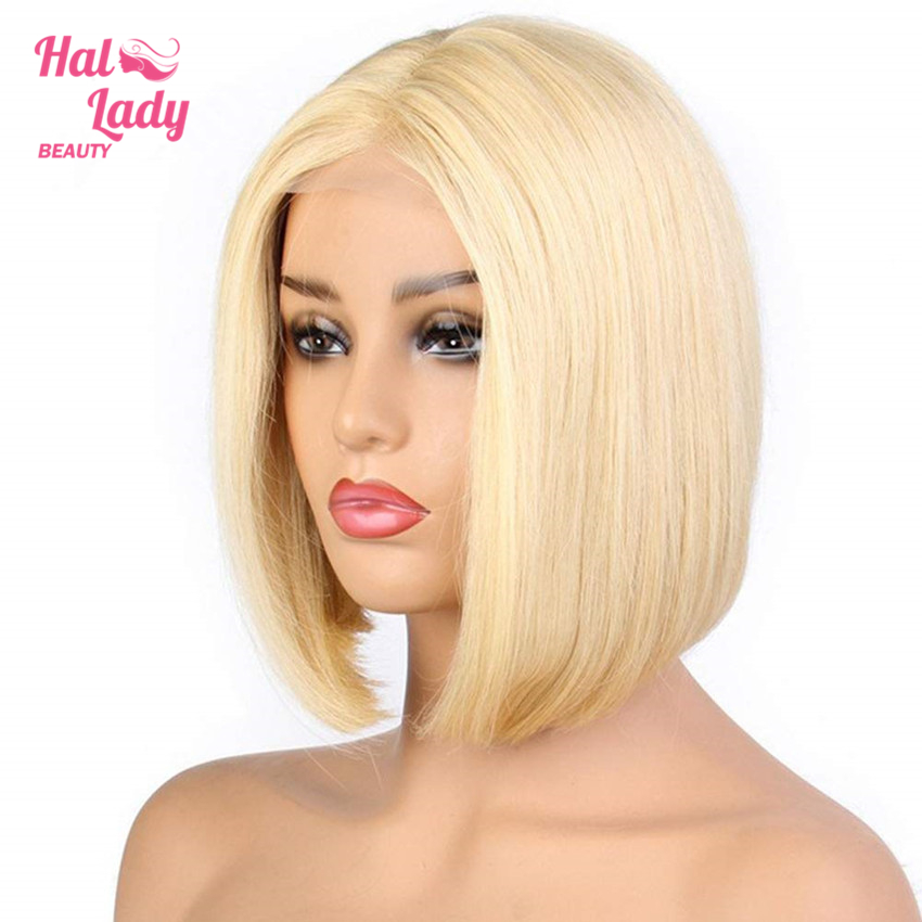 13 4 Blonde Short Lace Front Human Hair Wigs For Black Women Indian Straight Remy 613