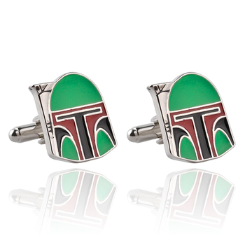 Men's Cufflinks Awesome Movie Star Wars Boba Fett Helmet French Cuff Links for Mens Wedding Groomsmans Gift For Men Whosale image