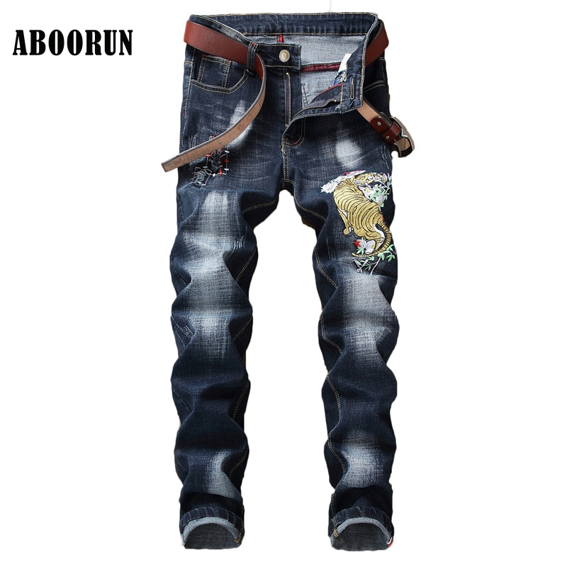 ABOORUN Fashion Mens Tiger Embroidery Jeans High Quality Distressed Skinny Patchwork Denim Pants Singers Dancers Jeans YC1310