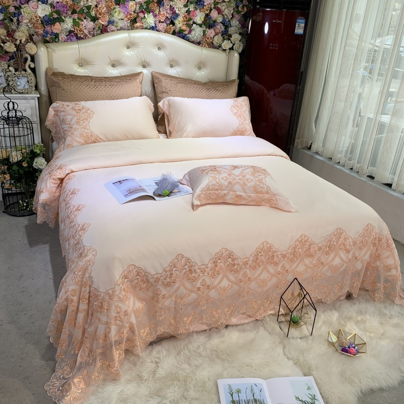 New Luxury 100S Tencel Silk Soft Princess Girl Bedding Set Lace Duvet Cover Bed Sheet Bed Linen Pillowcases Queen King Size 4pcs