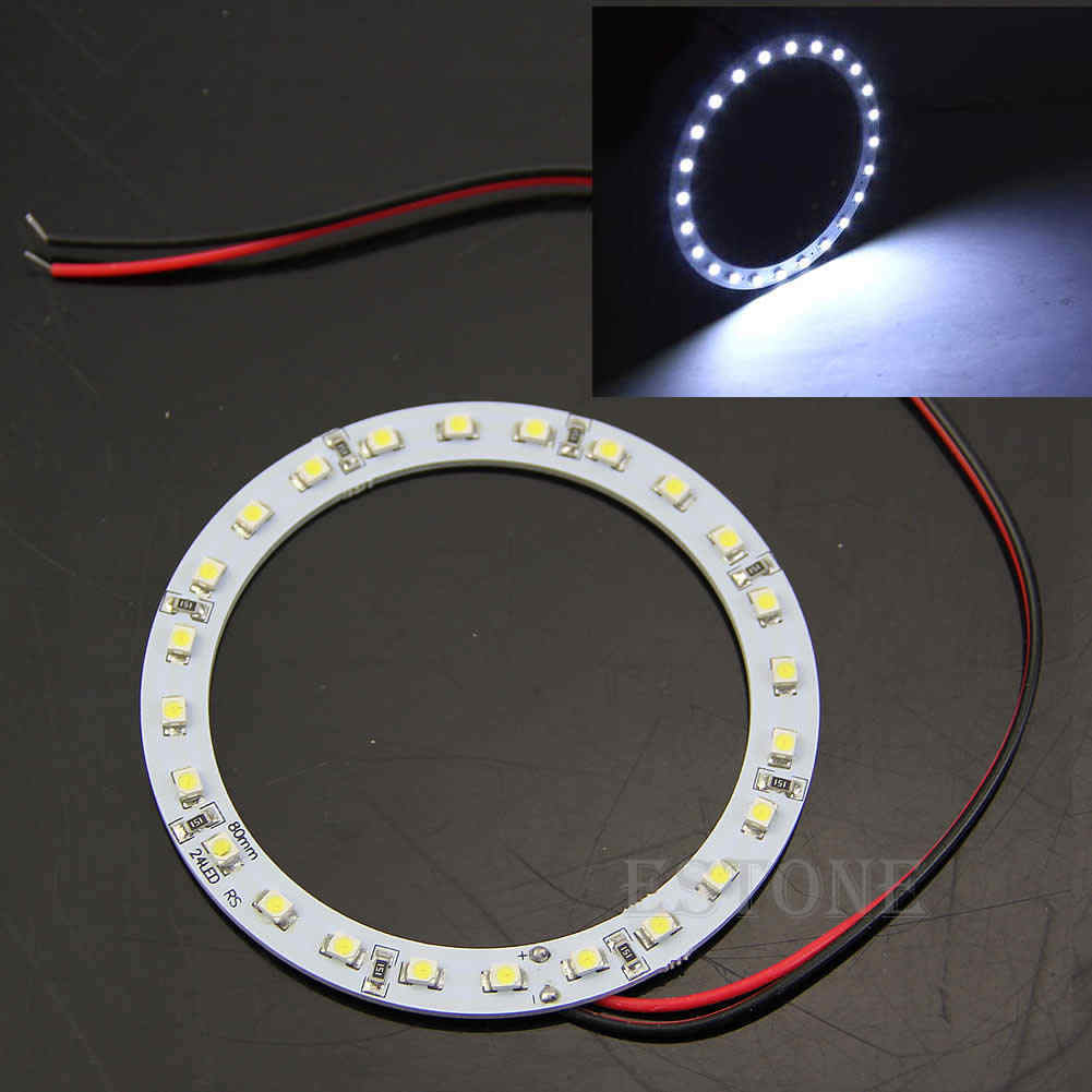 DROP Kapal 2Pcs 12V 24 SMD LED 80 Mm Angel Eyes Putih Cerah Cincin Mobil Lampu