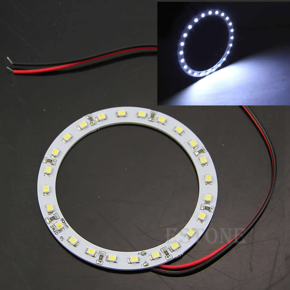 Drop Ship 2Pcs 12V 24 SMD LED 80mm Angel Eyes Bright White Ring Car Light