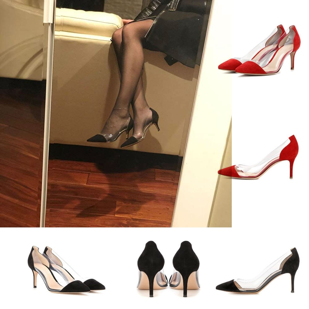 LOSLANDIFEN Clear PVC Transparent Thin Heel Pumps Slip-On High Heels Point Toes Women Party Nightclub Shoes Black Size 35-42