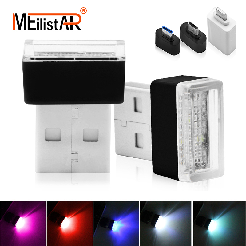 Car styling Car USB LED Atmosphere Lights Decorative Lamp Emergency Lighting Universal PC Portable Plug and Play Red/Blue/White universal 4 in 1 whoelsale 12 v cool fashion romantic led blue car decorative lights charge led interior decoration lights lamp