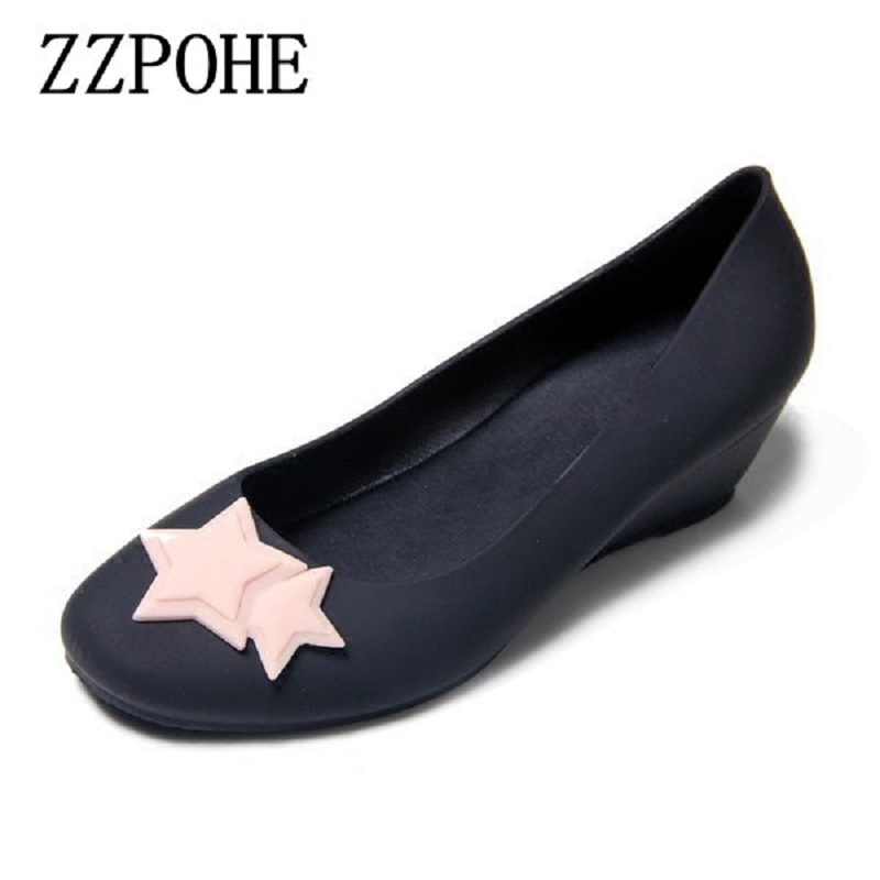 ZZPOHE 2018 New Fashion Mid Heels Women Casual Single Shoes Woman Wedding Shoes Lady Wedges Comfortable Soft Leather Pumps
