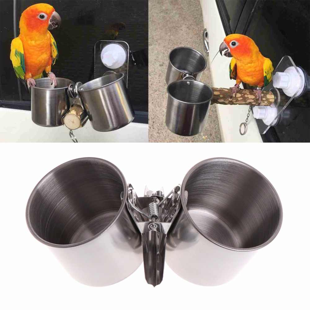 New Bird Feeder Cups Food Water Feeding Bird Double Cups With Clip Stainless Steel Parrot Cage Stand Bird Supplies C42