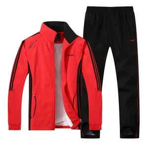 Image 1 - Nowych mężczyzna zestaw wiosna jesień mężczyźni odzież sportowa 2 częściowy zestaw Sporting garnitur kurtka + spodnie Sweatsuit mężczyzna odzież dres rozmiar L 5XL
