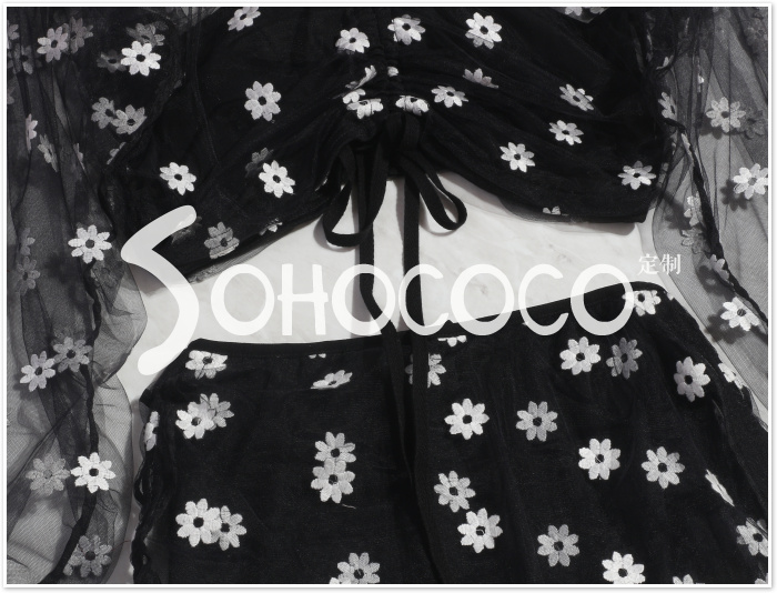 Nouveau Printemps Sexy Manches Pic Broderie Marguerite Costumes Maille Évider Jupe Long As Vêtements Élégant Impression Ensemble Bouffantes Halter Mode Femmes F1cJK3Tl