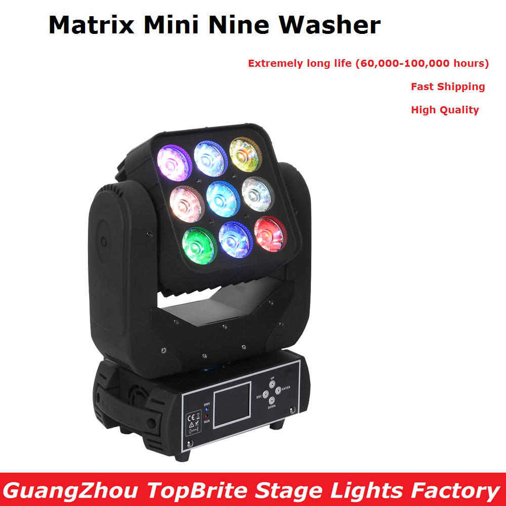 Newest 9X12W RGBW Quad Color Led Matrix Moving Head Light With Auto-run Feature For Professional Stage Party Shows Fast Shipping