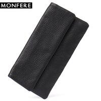 MONFERE New Luxury Leather Vintage Long Wallet Purse Genuine Leather Daily Handbag Cowhide Button Unisex Card Cash Purse Wallets