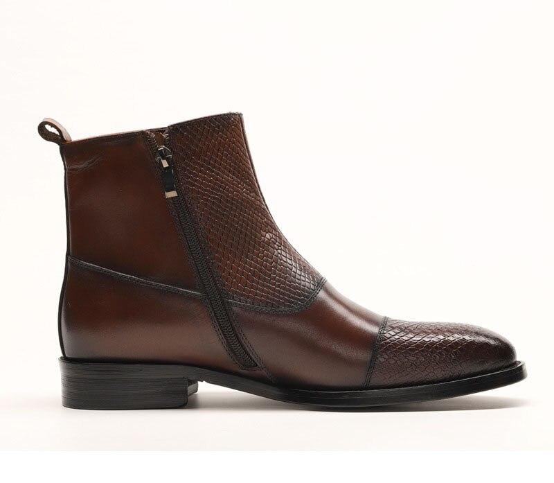 QYFCIOUFU Merk Nieuwe mannen Laarzen Lederen Mannen Jurk Laarzen Schoenen Mannelijke Britse Chelsea Gesp Heren Werkschoenen - 4
