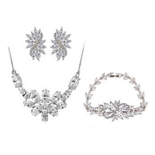 Luxury Marquise Cut Cubic Zirconia Flower Jewelry Sets For Women Bridal Jewelry Set Joyeria Gift Parure