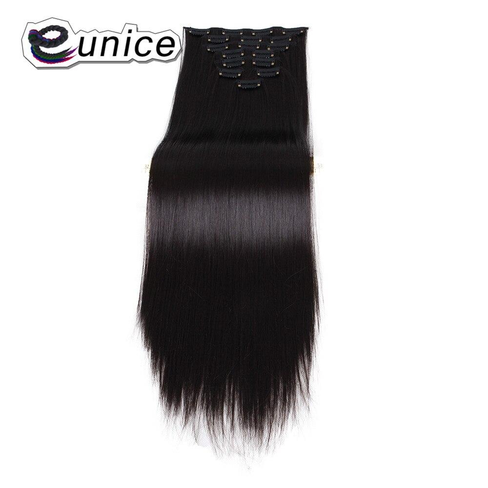 Treu Eunice Glattes Haar Clip In Der Synthetischen Haarverlängerungen Natürliche Farbe 8 Teile/los Vollen Kopf Hohe Tempreture Synthetische Haarteile Haarverlängerung Und Perücken