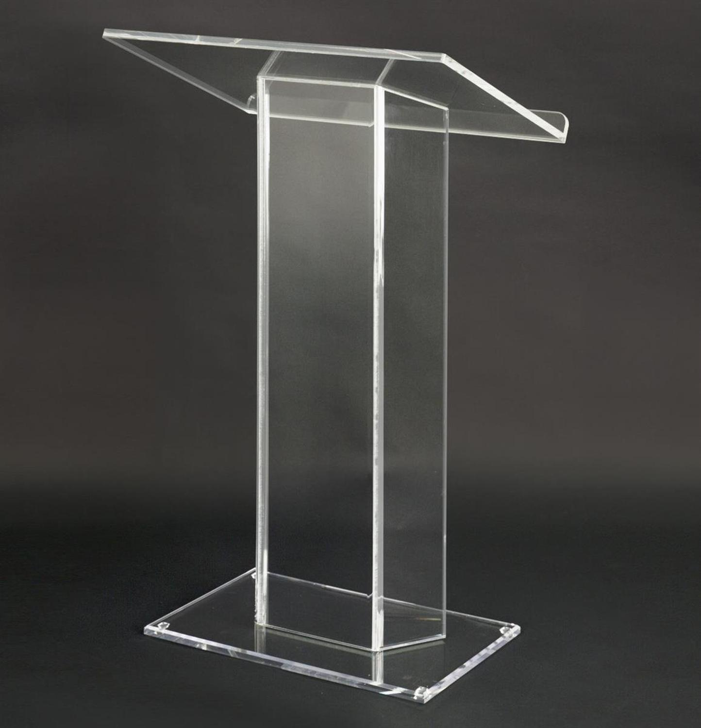 Clear Acrylic Podium, Large Top With Lip, 28