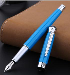 Image 4 - Free shipping wholesale school office supplies pen Picasso Luxury blue & silver 0.5mm nib fountain pen high quality writing pen