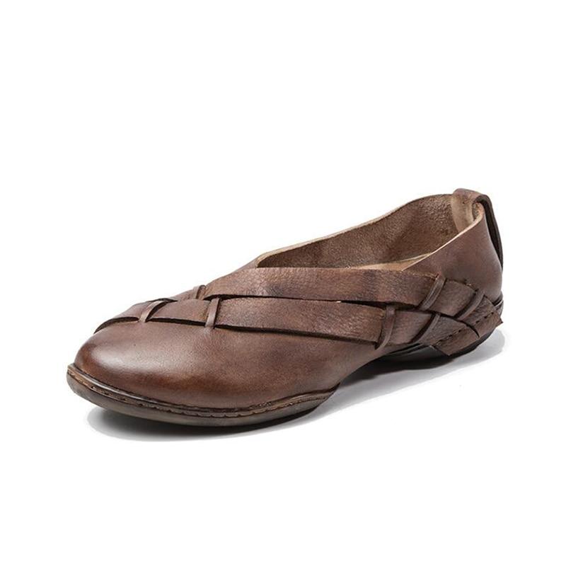 Mujer Plates Mou Nouveau Fait Chaussures Zapatos Rétro Fond Cuir Véritable 2 Femmes Main En D'été 1 Ballerines zCz6wvqA
