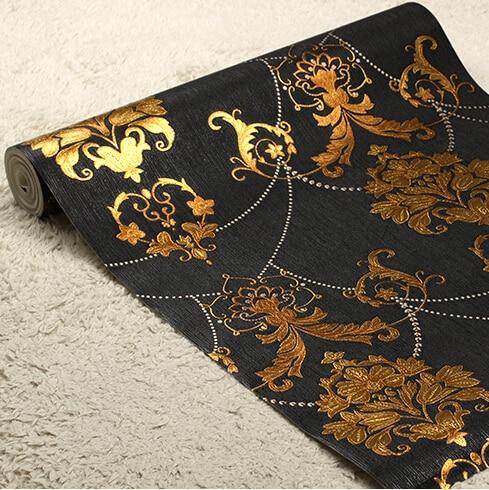 Papier peint de fond noir de luxe européen papier peint de style mural 3D damas papier peint de chambre à coucher de salon PVC imperméable à l'eau