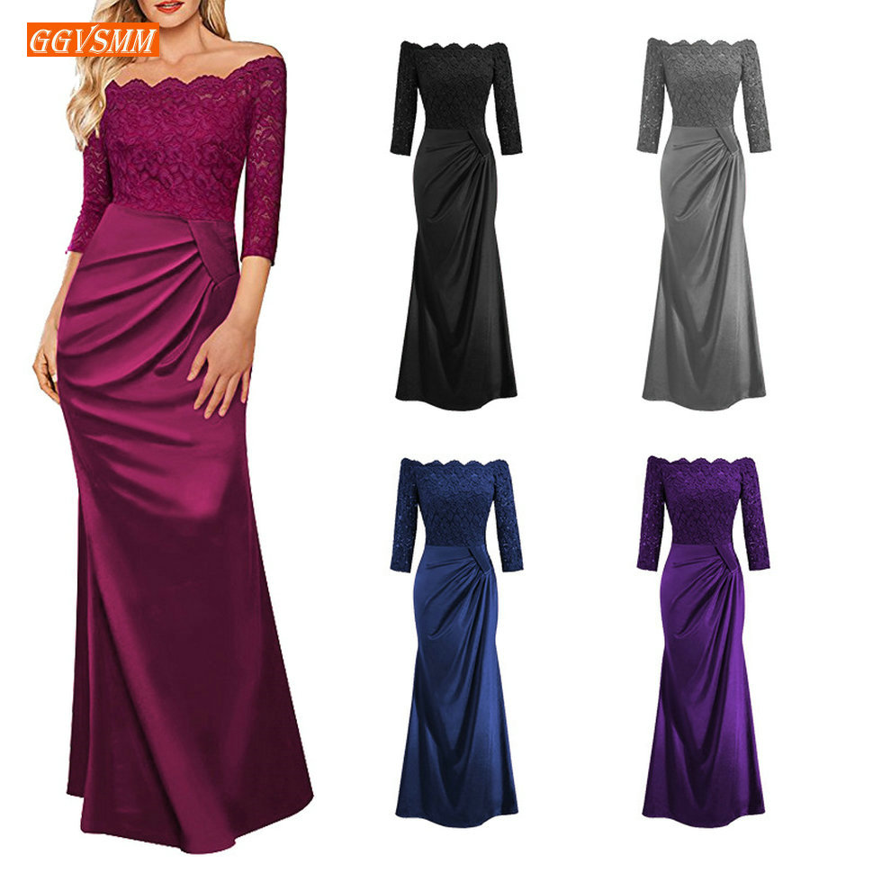 Elegant Mermaid   Prom     Dresses   Long Special Occasion Formal   Dress   2019   Prom   Gowns Boat-Neck Elastic Satin Lace Zipper Women Party