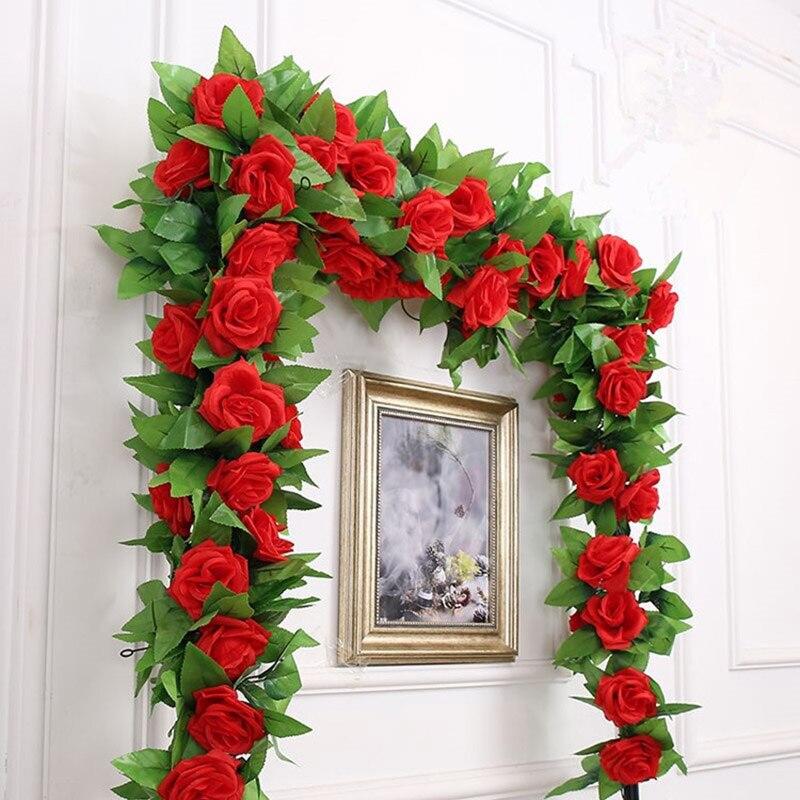 250 см/лот шелковые розы Плющ Vine с зелеными листьями для украшения дома свадьбы поддельные листья diy подвесные гирлянды искусственные цветы