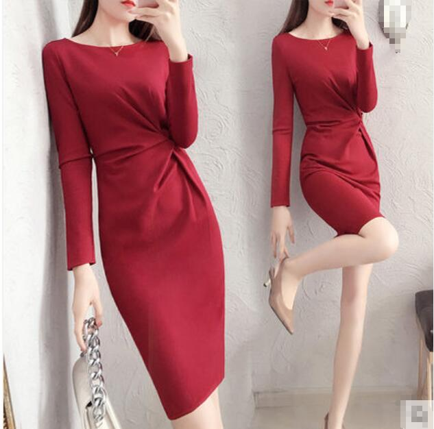Red spring long sleeve bodycon office work dress plicate best selling 2018 products