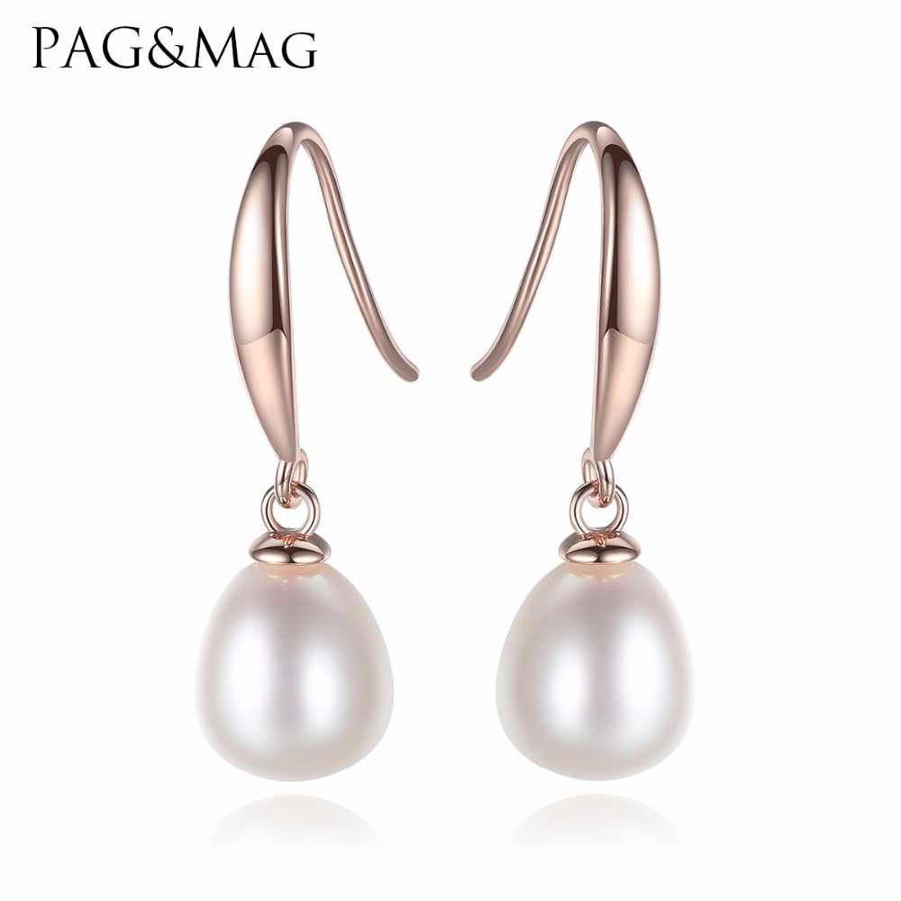 PAG&MAG New Simple And Stylish Sterling Silver Pearl Water Drop Earrings For Women Brand Jewelry Anniversary Gift Send Free box