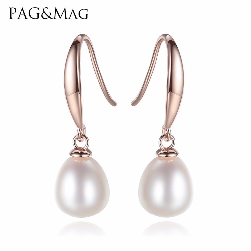 PAG & MAG Nuevo Pendientes de gota de agua de perlas de plata - Joyas