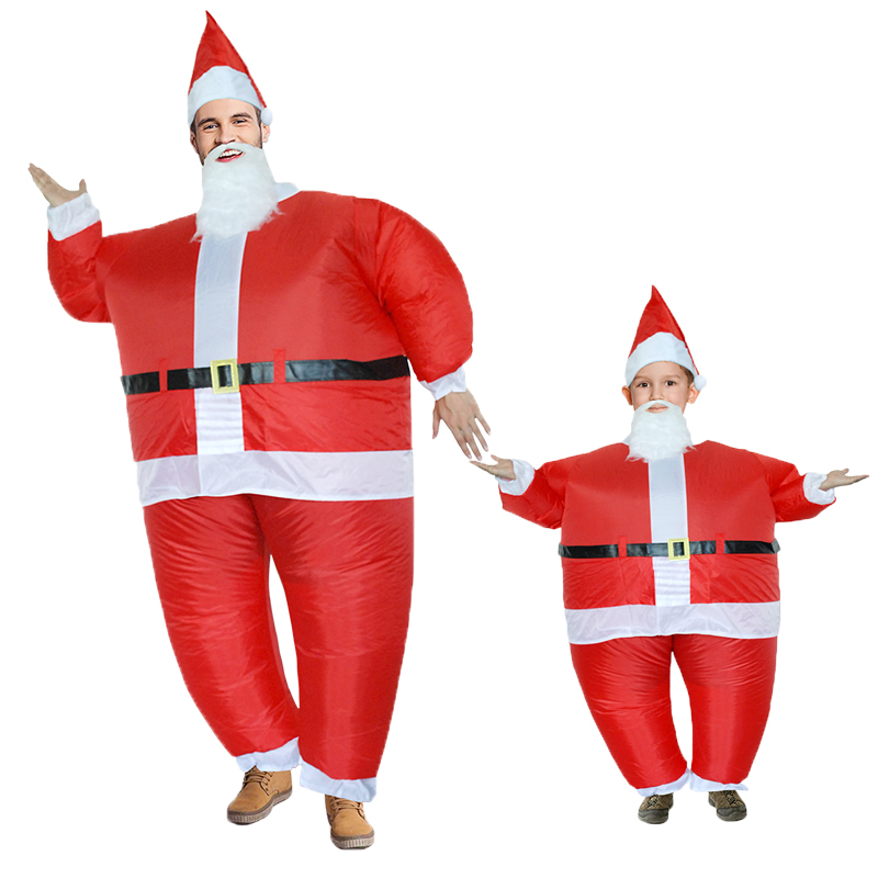 New Santa Claus Inflatable Costumes Christmas Cosplay Costume for Women Man Adult Holiday Party Inflated Garment