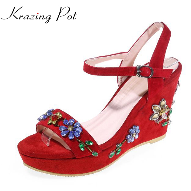 Krazing Pot 2017 brand shoes peep toe genuine leather wedges crystal slingback platform women sandals high heel classic shoe L10 free shipping 100%real picture women shoes wedges high heels platform luxury ethnic diamond genuine leather peep toe sandals