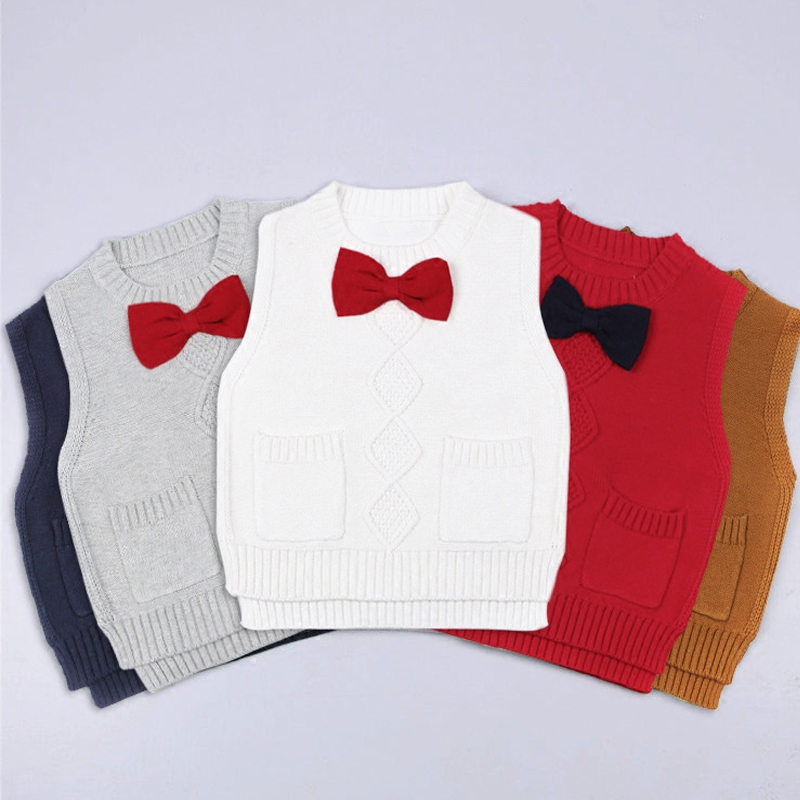 MAGGIES WALKER 2017 Baby Boys Girls Knitted Vest Tops Kids Lovely Bowkno...