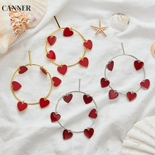 Canner Silver Gold Earrings Fashion Jewelry Red Heart Big Loop Dangle For Women Accessories