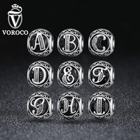 VOROCO Authentic 925 Sterling Silver Vintage A To T Clear CZ Letter Charms Fit VRC Bracelets