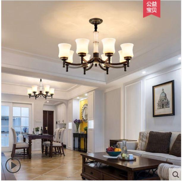 Lustre en cuivre américain pays jade salon maison chambre lampe jardin style restaurant lustre villa lampes