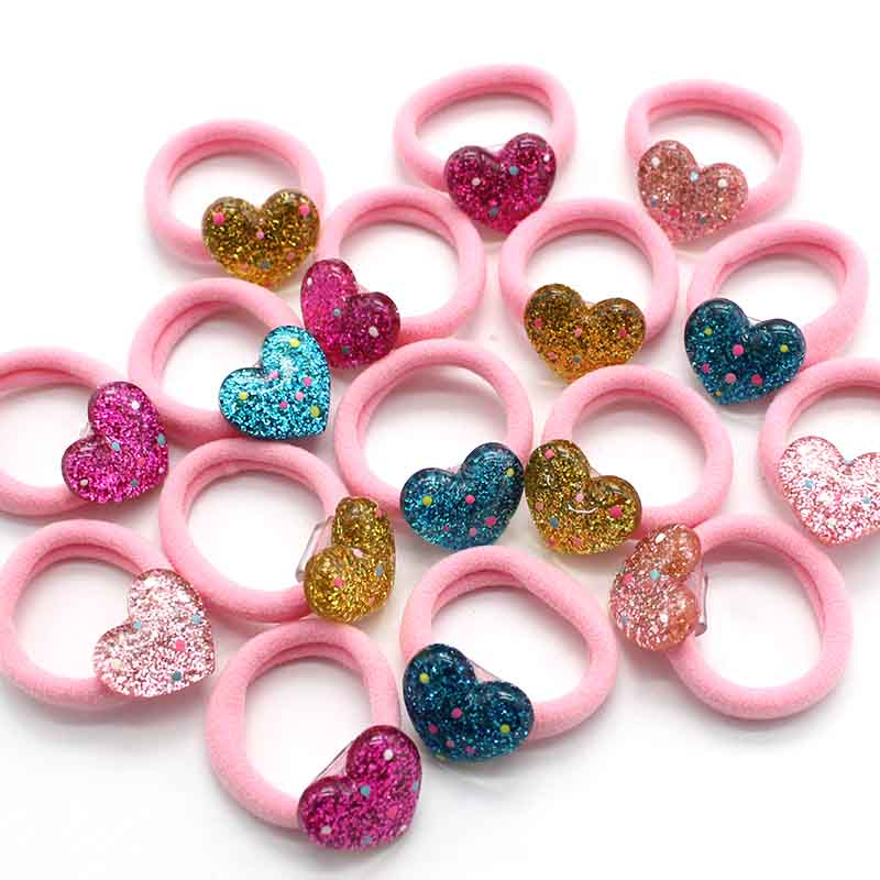 10pcs/set Fashion Kids 3cm Elastic Hair Bands Headbands Love Heart Girls Hair Accessories Rubber Band Gum For Clip Hair