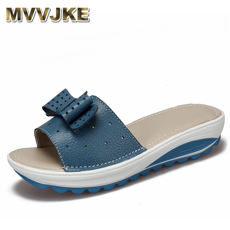 MVVJKE  2017 New Women's Sandals Cow Leather Women Flats Shoes Platform Wedges Female Slides Beach Flip Flops Summer Shoe Lady 3 phyanic 2017 gladiator sandals gold silver shoes woman summer platform wedges glitters creepers casual women shoes phy3323