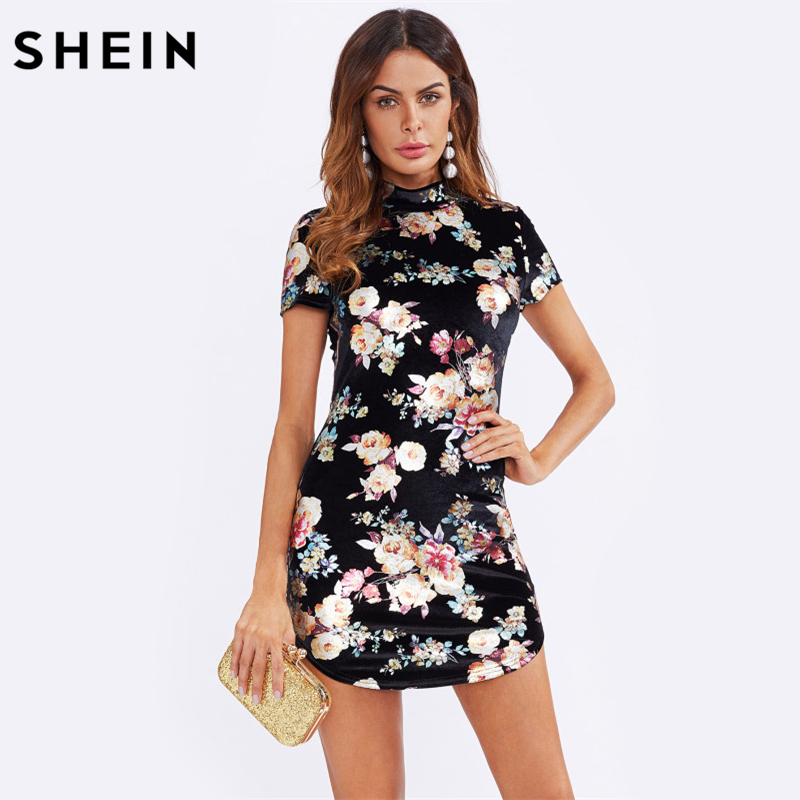 5011e1610c SHEIN Curved Hem Floral Velvet Sexy Club Bodycon Dress Elegant Black High Neck  Short Sleeve Zipper Back Short Dress-in Dresses from Women's Clothing on ...