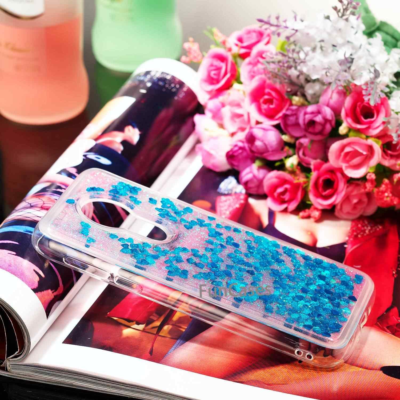 حجر الراين جراب لهاتف Motorola موتو G7 الطاقة النسخة الامريكية نجوم بلينغ الماس السائل الرمال المتحركة واضح موتو G7 الطاقة العائمة غطاء