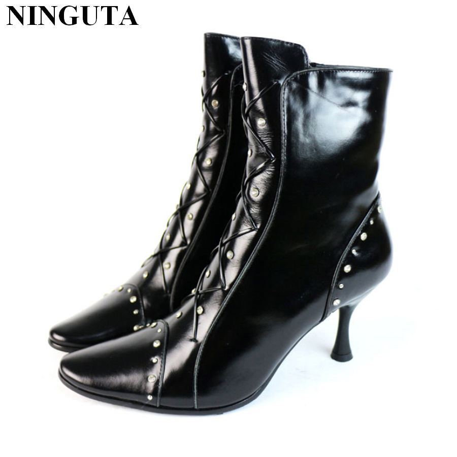 Fashion Crystal Genuine Leather Wool ankle boots women pointed toe high heels women winter boots shoes
