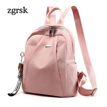 Ladies usb backpack Hot student Zipper Solid Nylon None Pink Business backpacks for teenage girls mochila notebook bookbags
