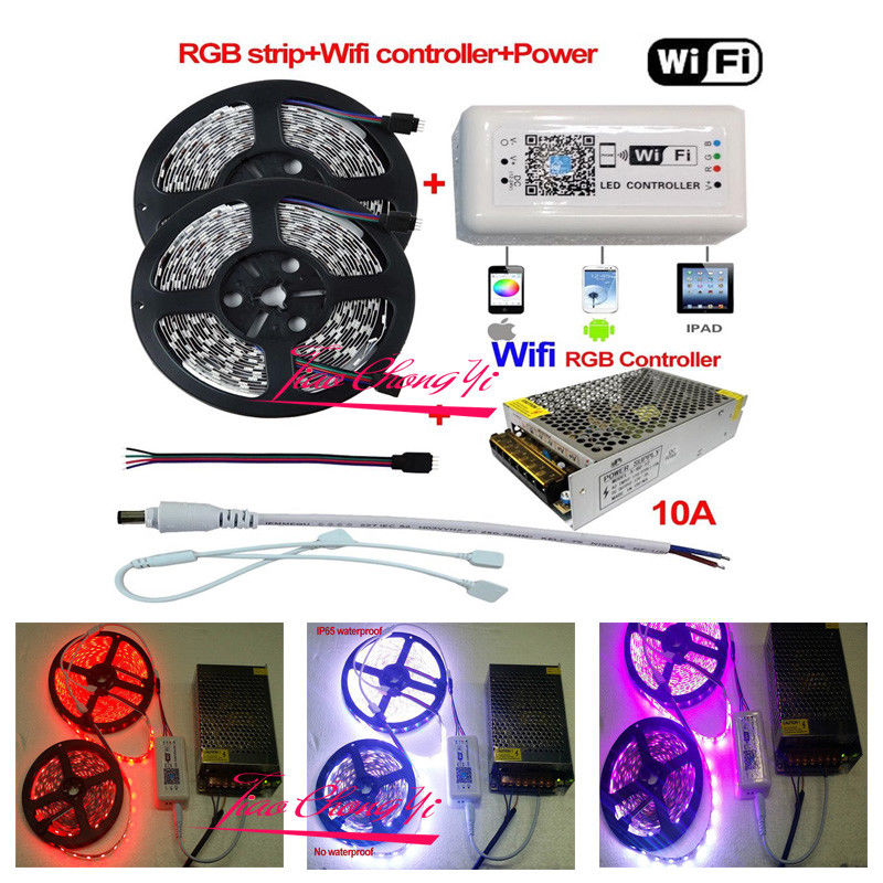 5-10M 5050 RGB LED Strip Light + Wifi Controller By iPhone Android APP + Power ...
