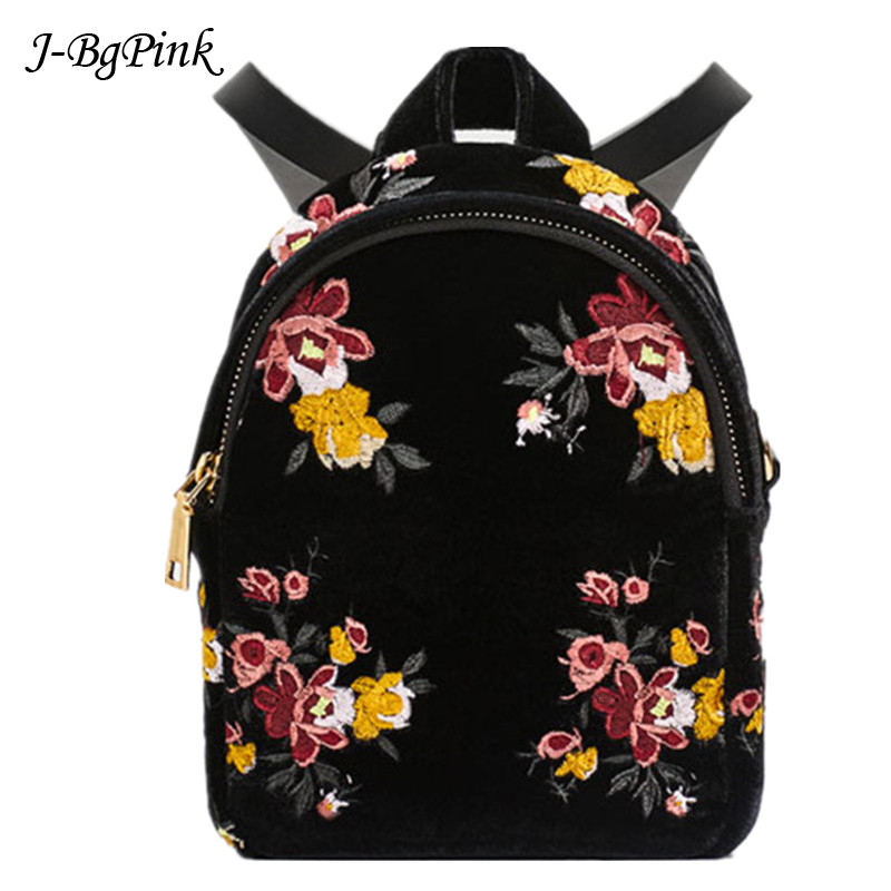 2018 New Women Soft Velvet Backpack European and American style black embroidered flowers mini Backpack faux leather flowers mini backpack