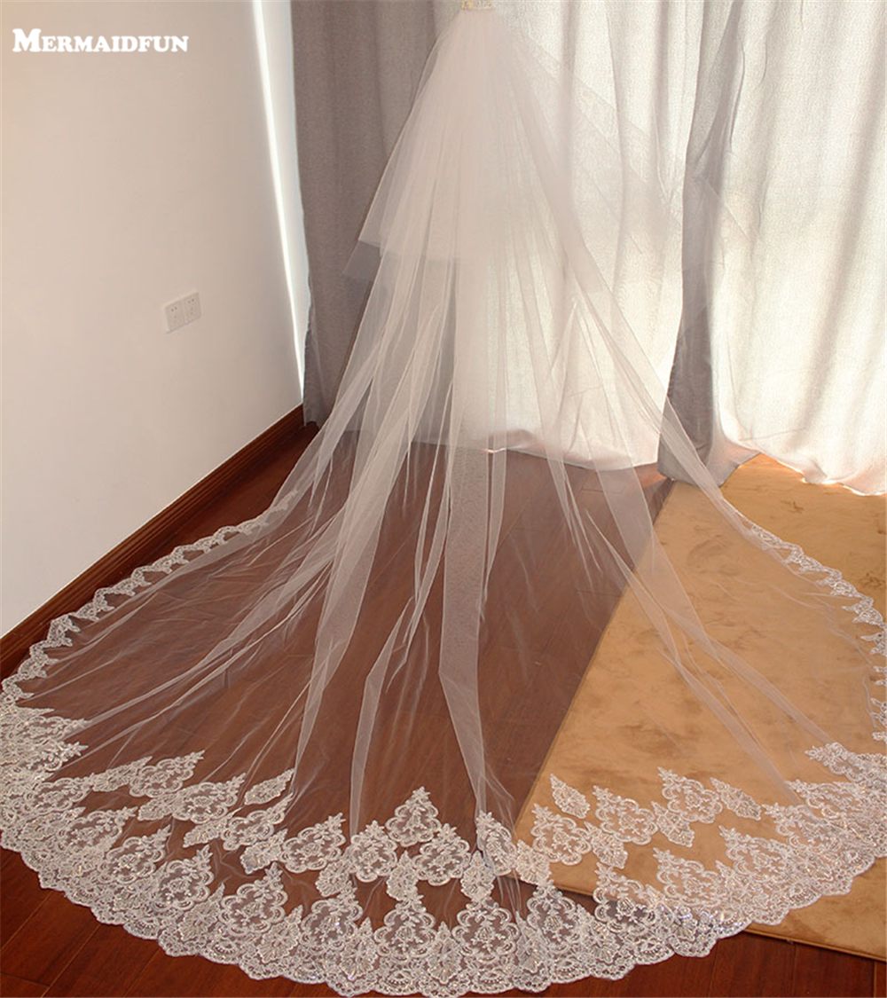 Wedding Veils Lace Sequins Bling Two-Layers Long 3-Meters At-Bottom Velos-De-Novia