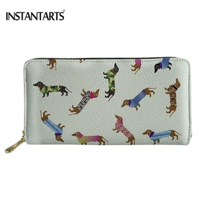 INSTANTARTS Woman's PU Leather Wallet Funny Dog Dachshund 3D Printing Female Large Purse Fashion Brand Zipper Credit Card Holder(China)