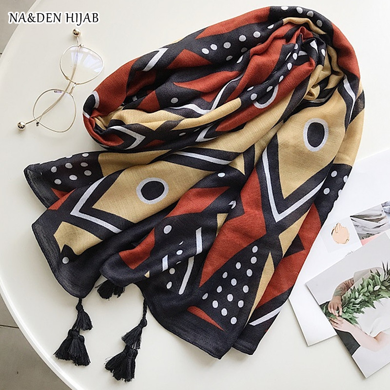 NEW fashion geometric scarf handmade tassel pashmina style pashmina women scarves shawls brand wrap soft muffler