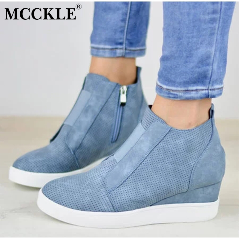 MCCKLE Plus Size Women Casual Sneakers Autumn Platform Flat Female Hollow Out Zipper High Top Vulcanized Shoes Ladies Leisure floral plus size lattice hollow out top