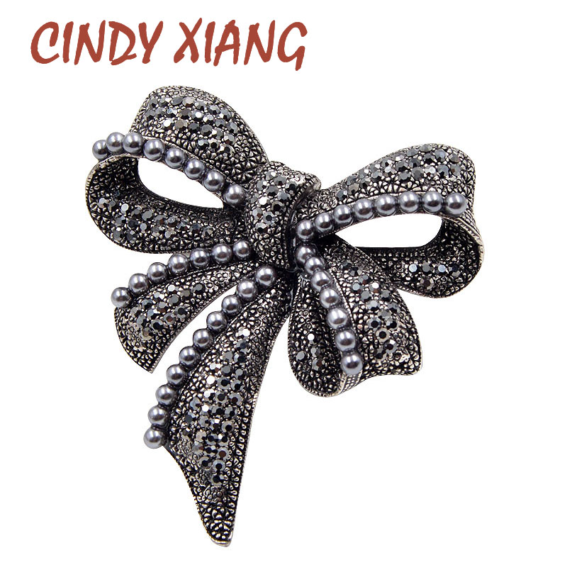 CINDY XIANG New Black Bow Brooches for Women Rhinestone and Pearl Brooch Pin Vintage Broches Fashion Jewelry Elegant Accessories
