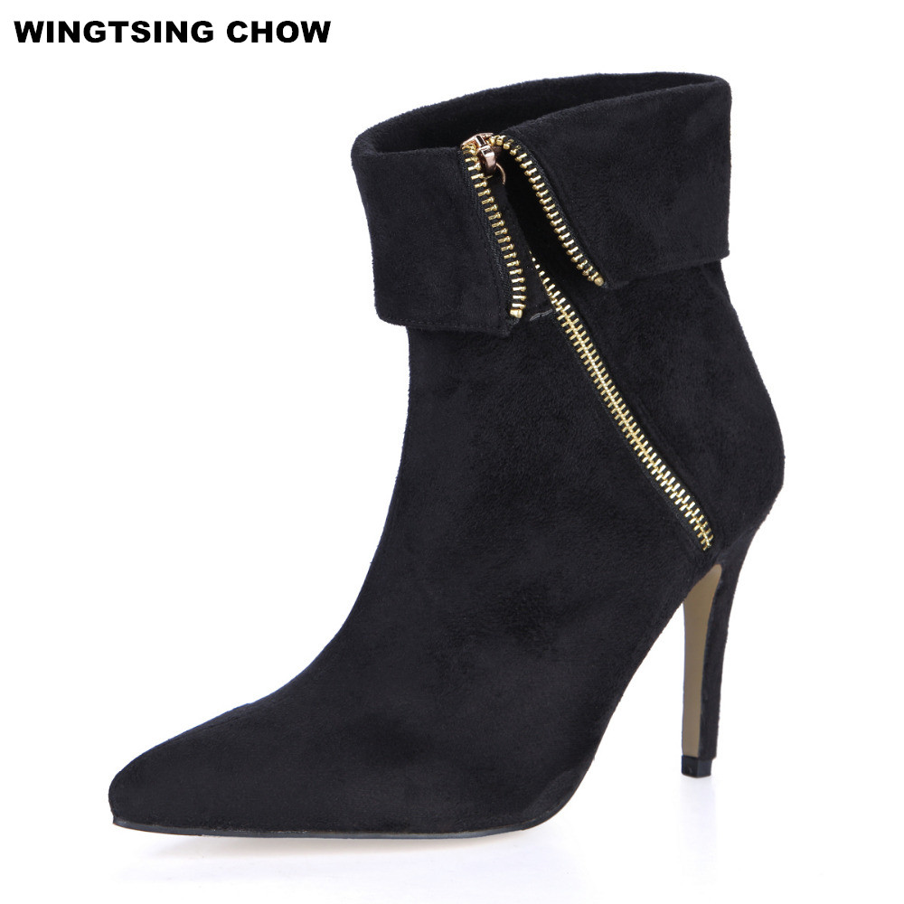 все цены на Plus Size Black Ankle Boots Women High Heel Side Zipper Pointed Toe Women Boots Fashion Leather Boots Autumn Winter Shoes Woman