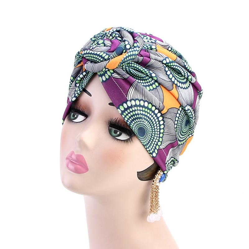 Women Turban Hats African Printing Long Headscarf Geometric Design Head Wrap Cap