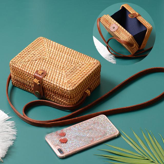 2018 Round Straw Bags Women Summer Rattan Bag Handmade Woven Beach Cross Body Bag Circle Bohemia Handbag Bali Box Dropshipping