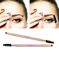 1PC New Fashion Women Pro Bamboo Handle Double End Use Eyebrow Brush Eyebrow Eyeliner Brushes Makeup Tools Makeup